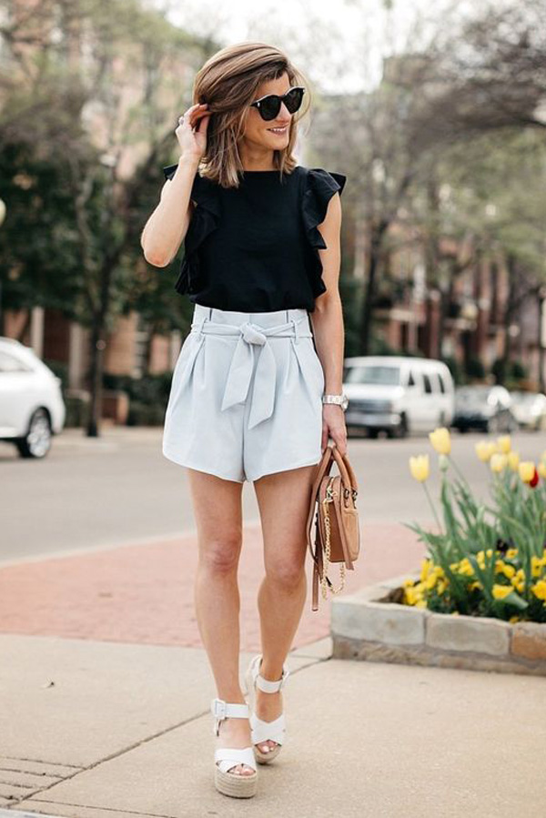 shorts paper bag street style