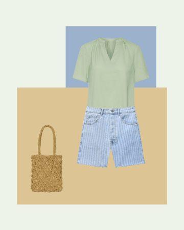 look vacaciones de playa con shorts vaqueros