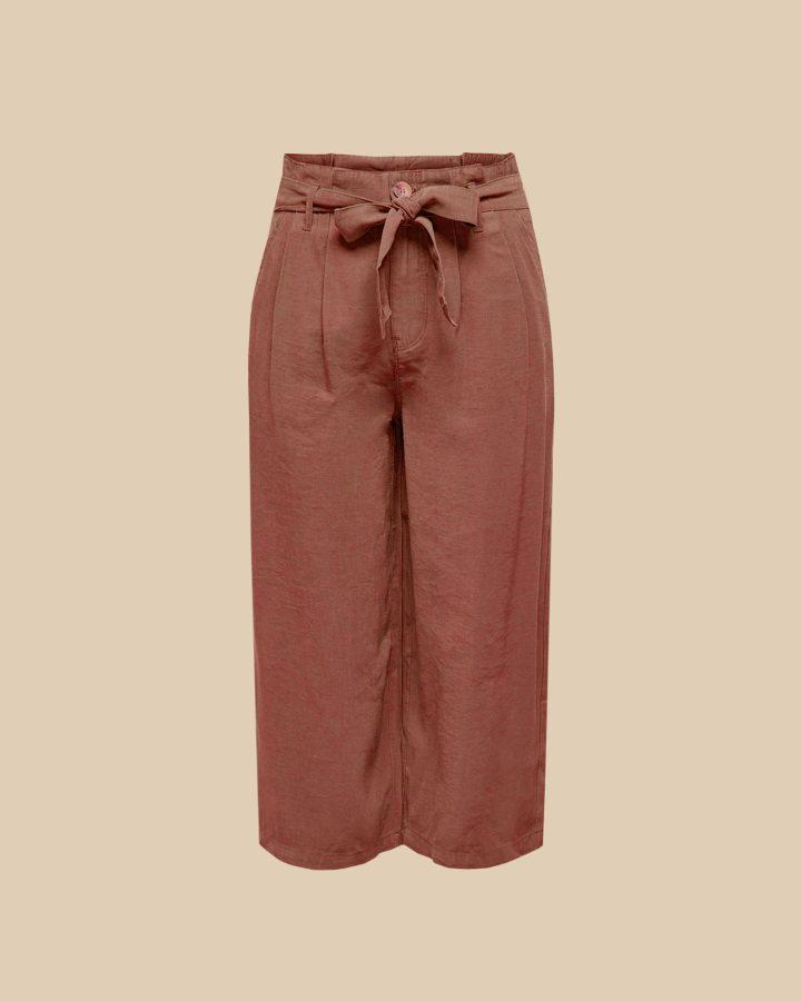 pantalón lino paperbag