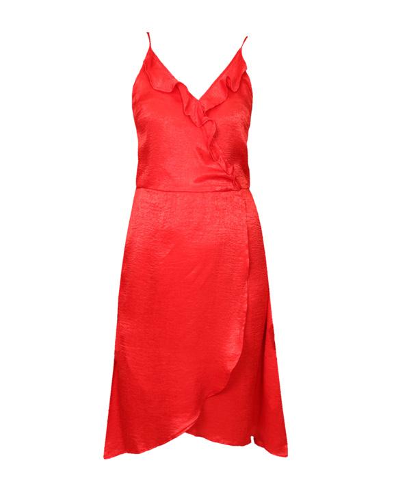 vestido rojo de satén midi