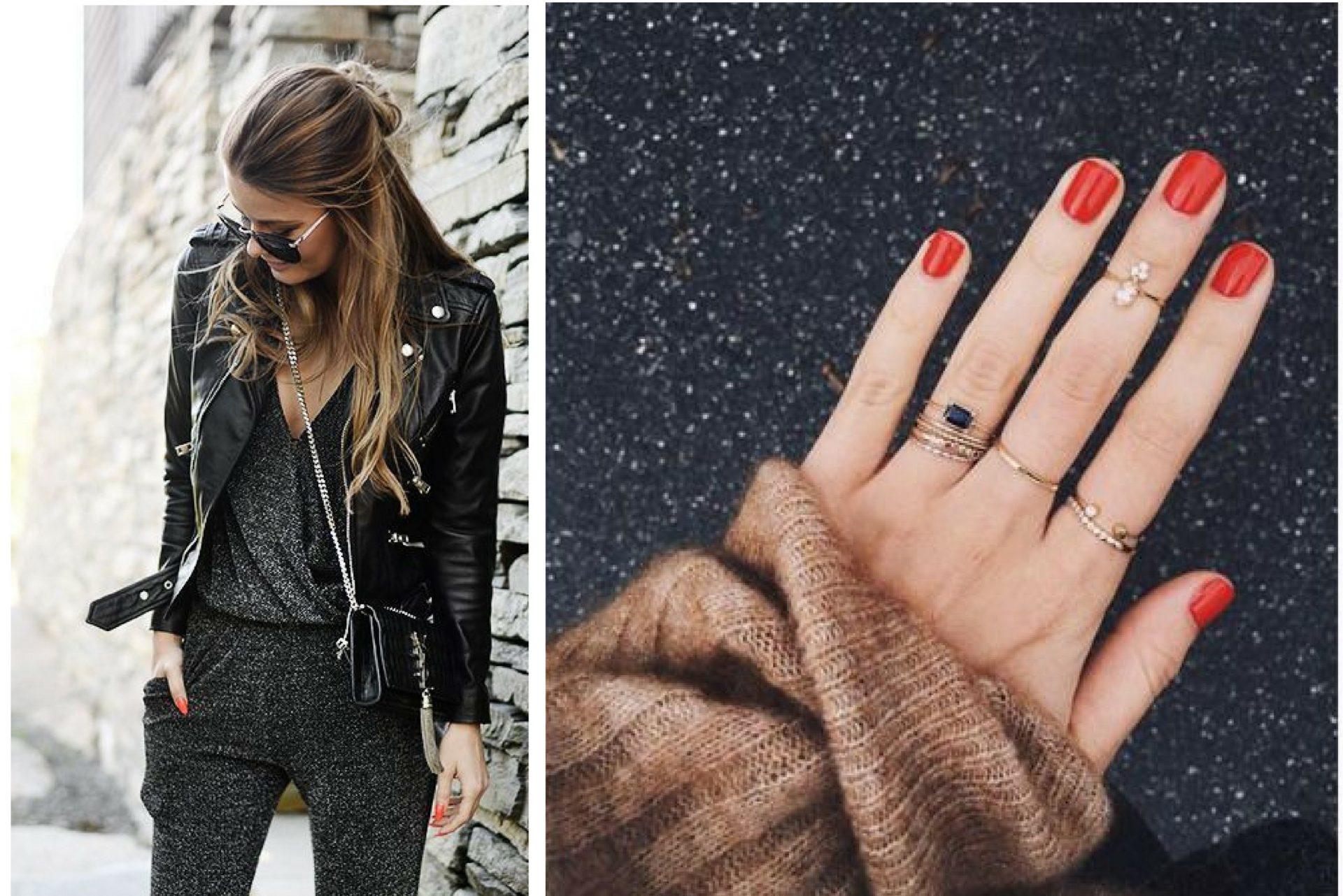 Uñas rojas para un look negro