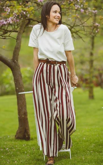 pantalones palazzo rayas marrón