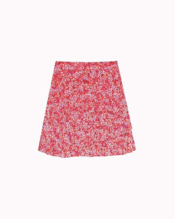 falda gasa estampada roja