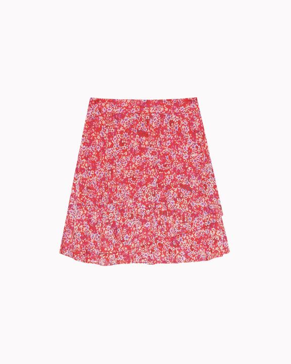 falda mini con mini print roja