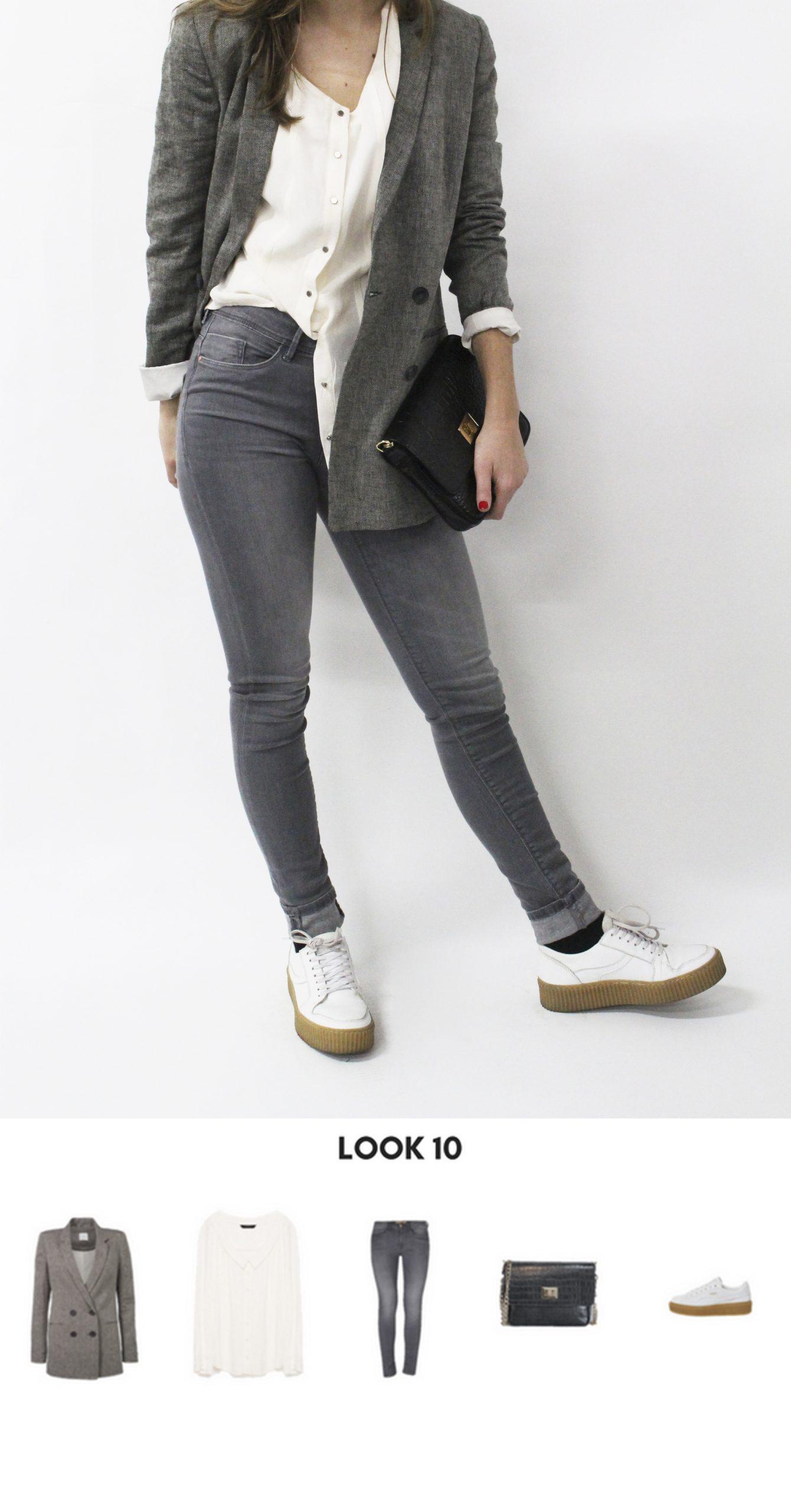 jeans pitillo, blusa blanca y una blazer gris