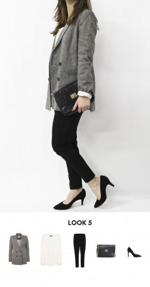 look black & white con blazer gris