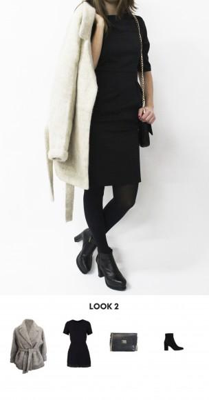 Look LBD y abrigo bata
