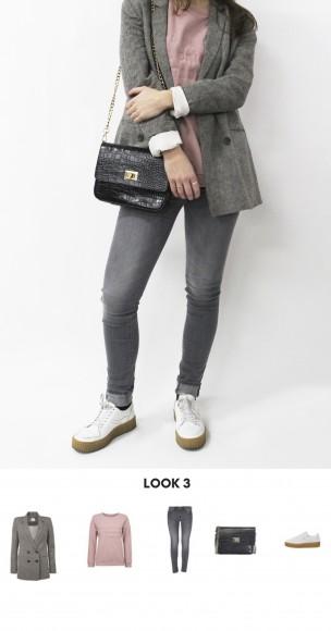 look sneakers y pantalón skinny gris