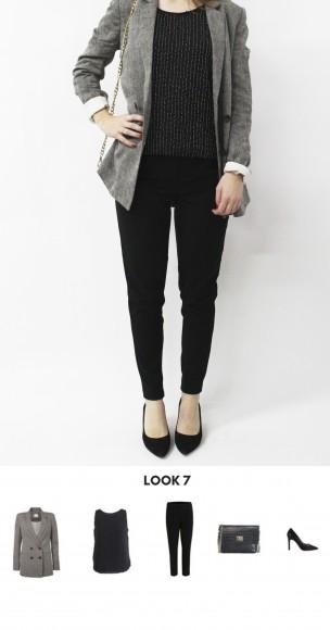 look total black con blazer gris