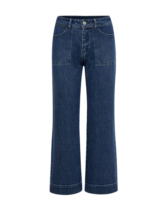 jeans tiro alto y corte recto