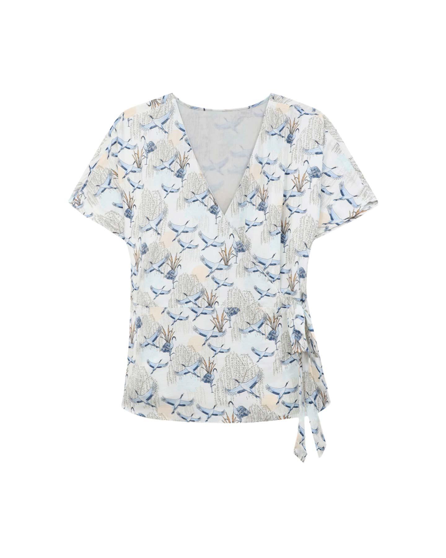blusa cruzada estampada primavera