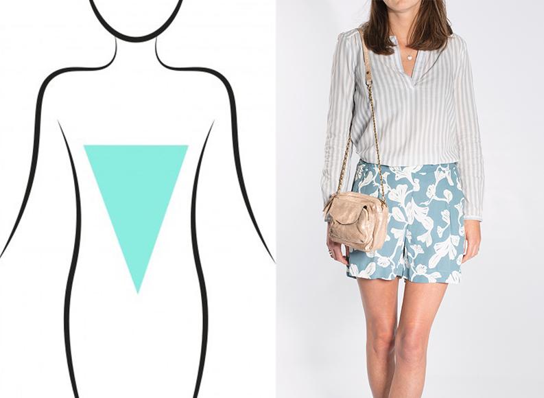 Blusa de rayas verticales combinada con short print