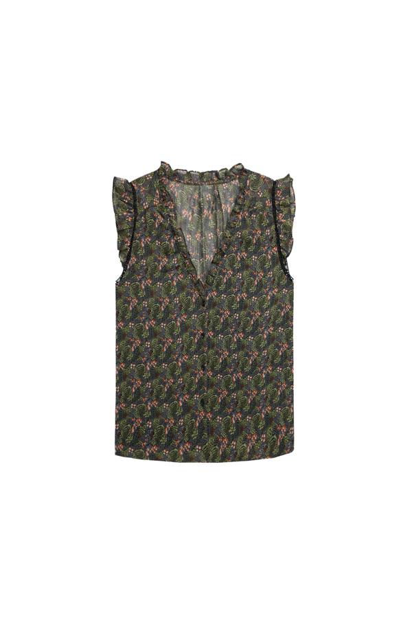 blusa de gasa sin mangas para el verano