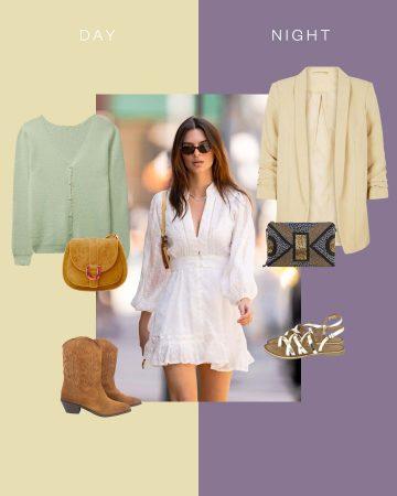 Look boho en robe blanche