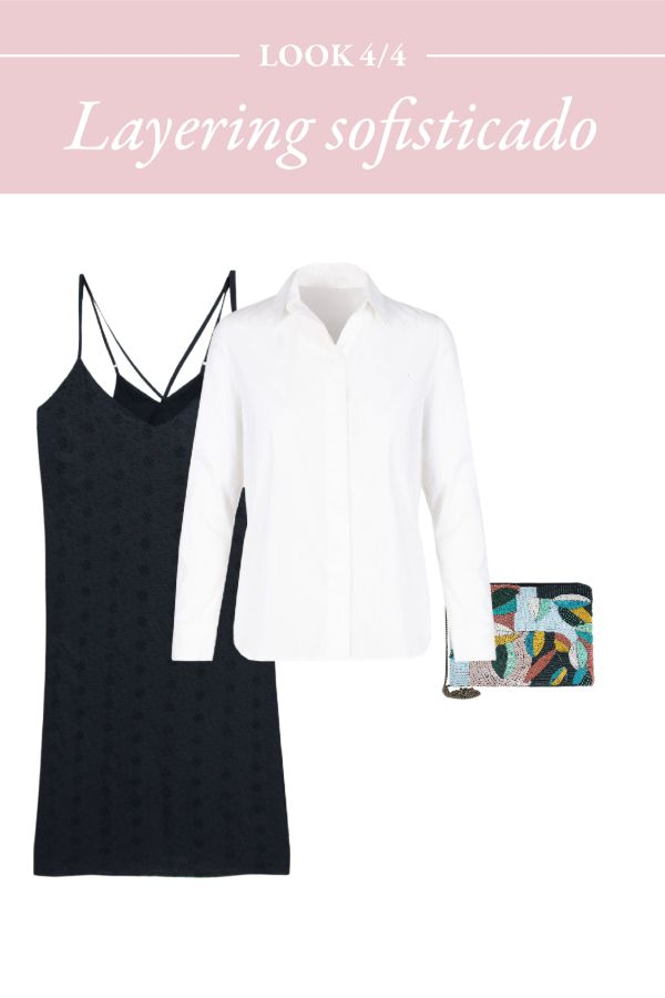 camisa blanca y vestido lencero negro