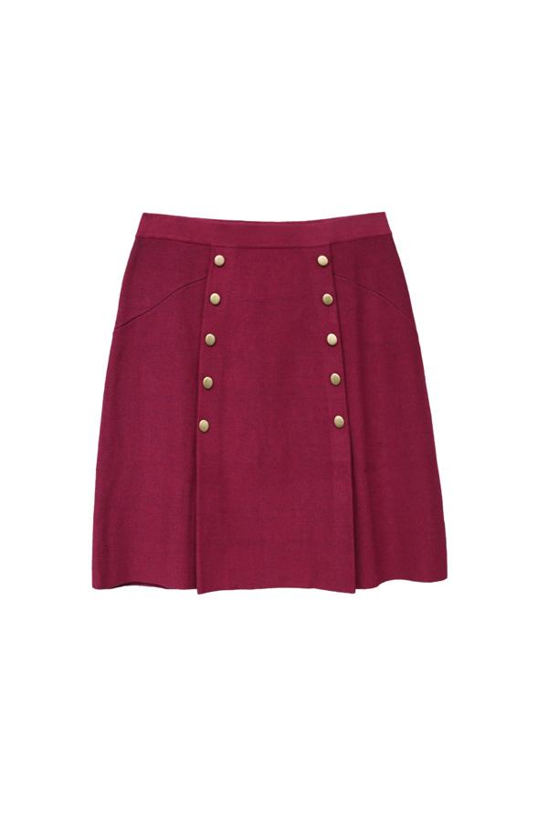 falda granate estilo preppy