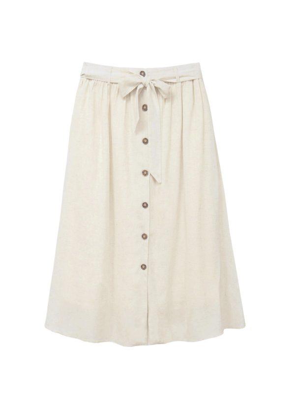 falda midi beige armario capsula primavera