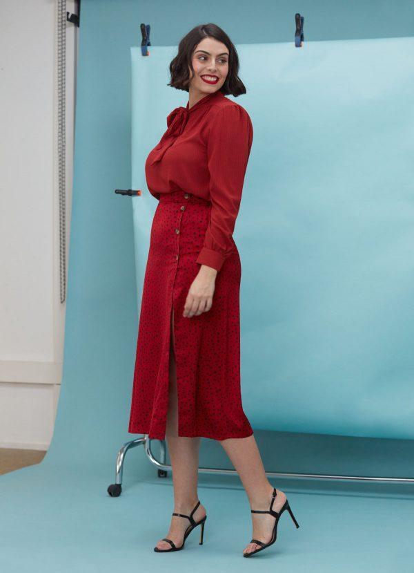 falda midi lunares roja