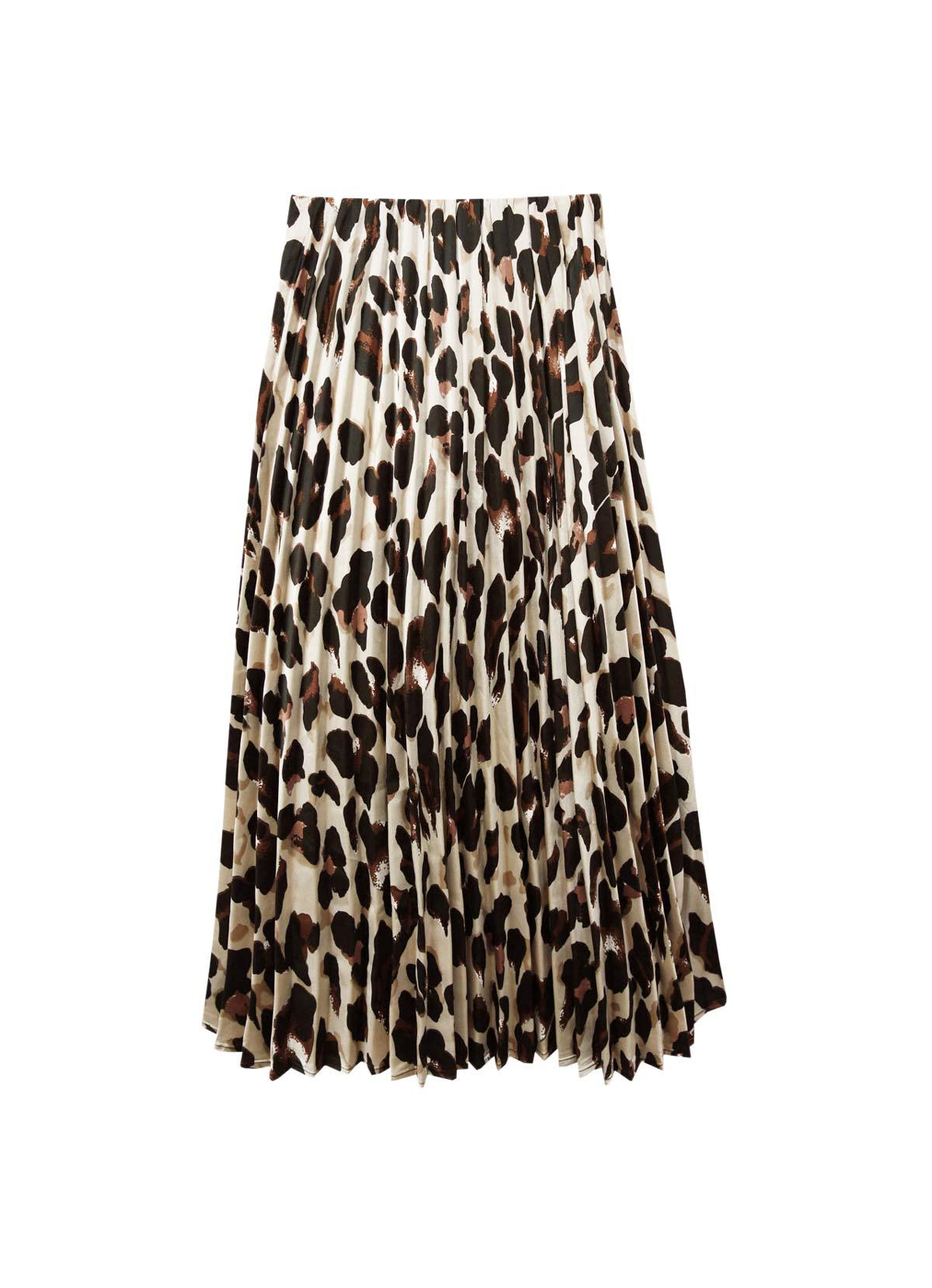 falda midi animal print plisada