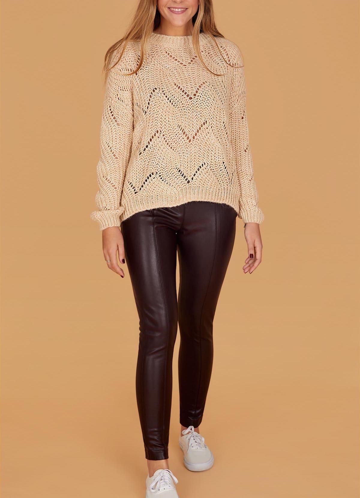 Pull cocooning et leggings effet cuir