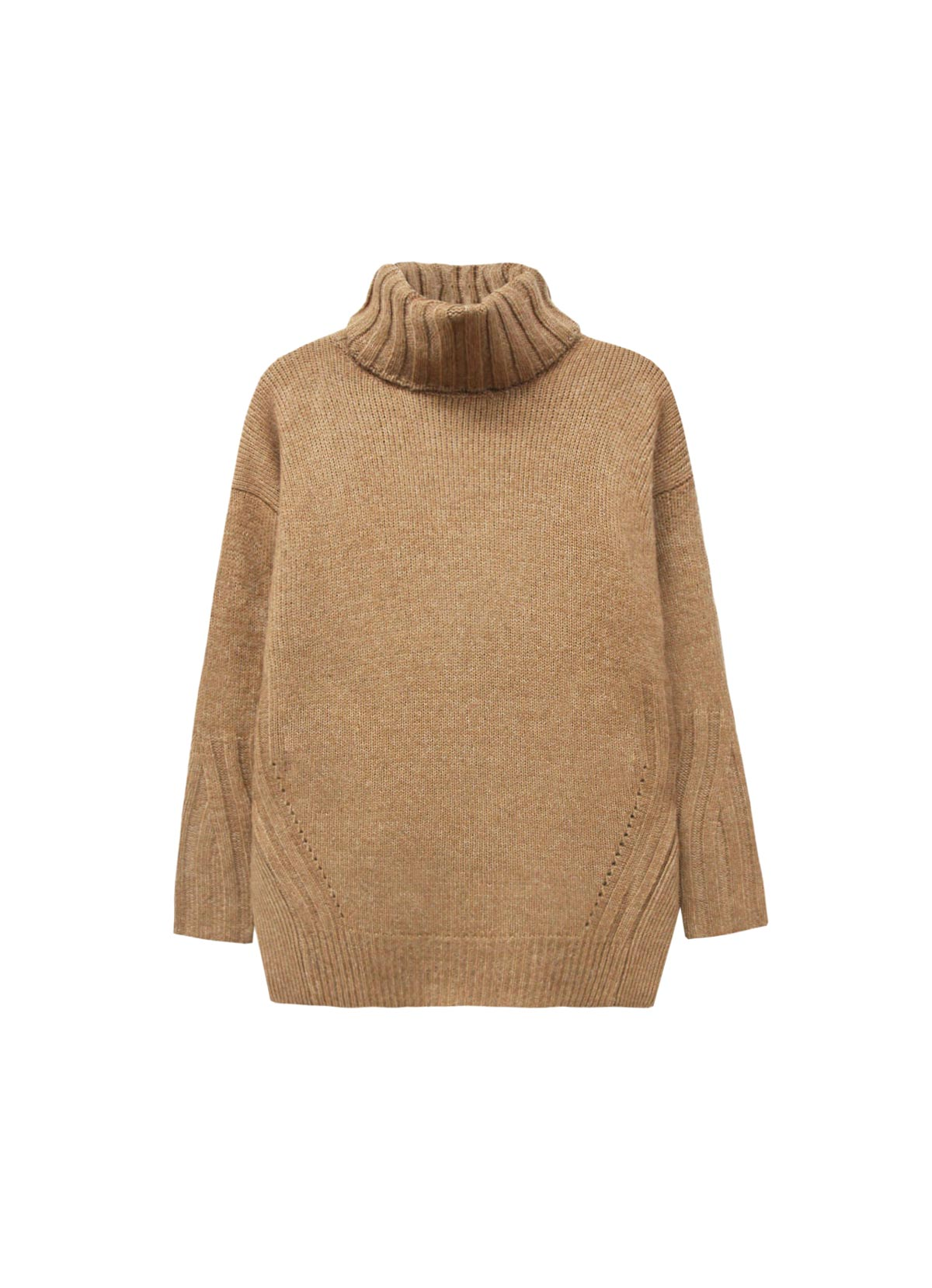 Le pull en maille couleur sable