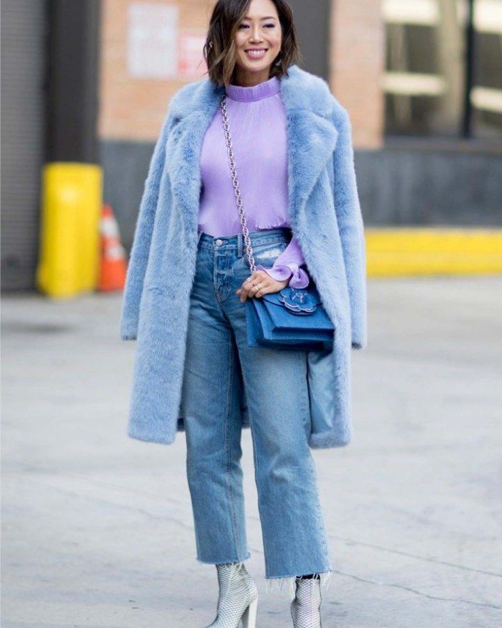 look en lilas et bleu