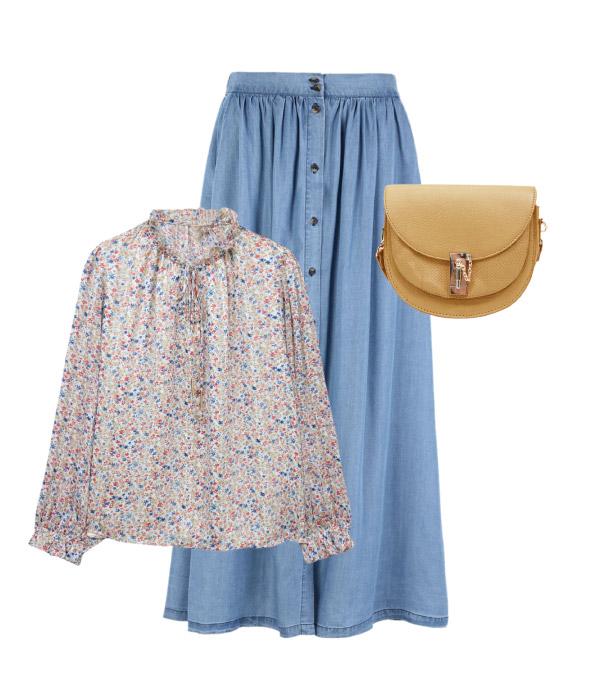 look falda midi vaquera 50 años