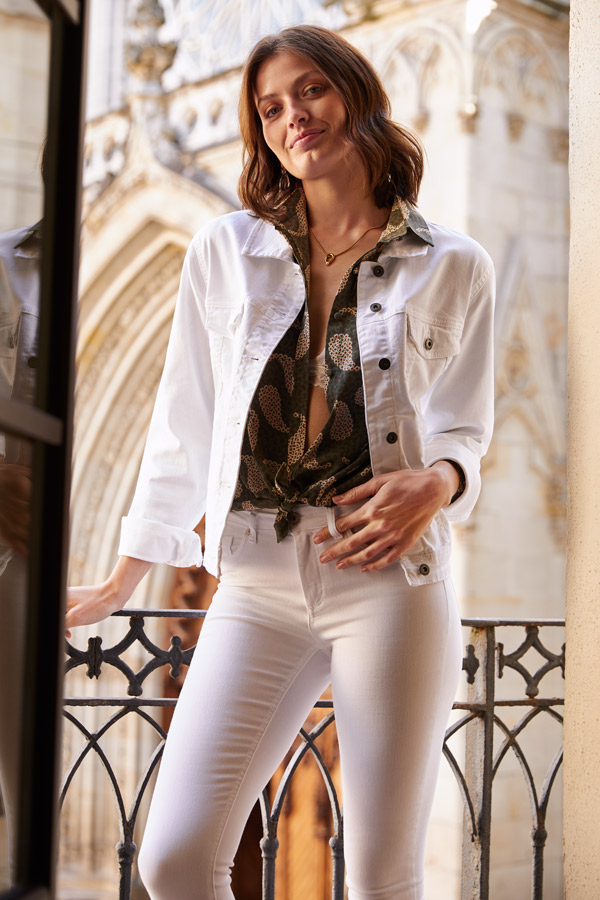 white trousers and white denim jacket