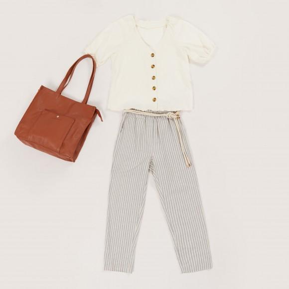 pantalon large à rayures style marinière