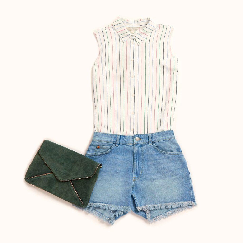 short en jean et blouse sans manches