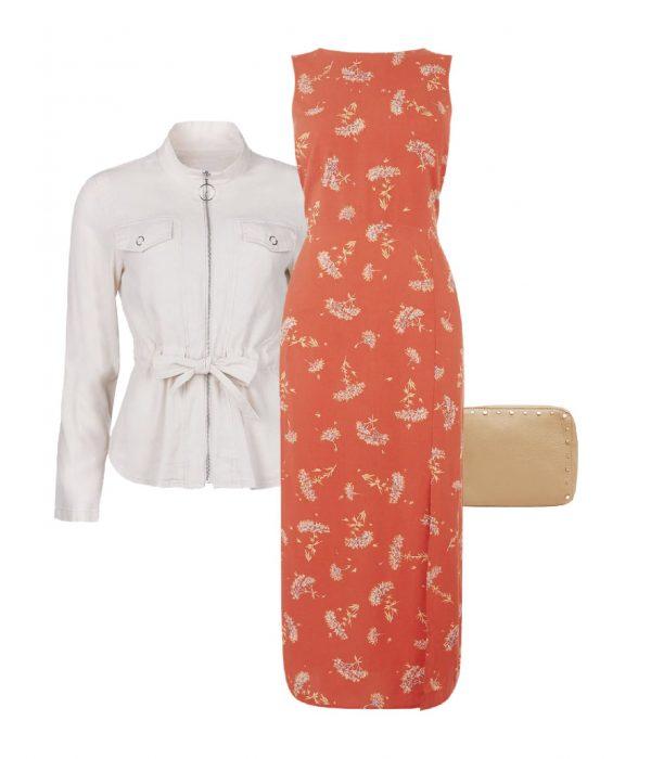 look vestido flores coral