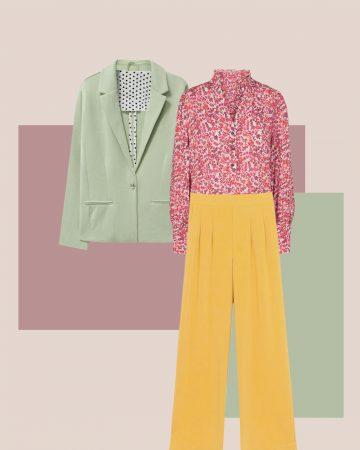 look primavera con pantalones anchos amarillos