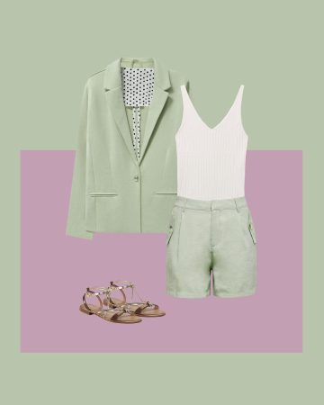 traje sastre con shorts verde menta