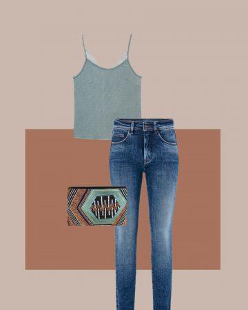 look camiseta de encaje y skinny jeans