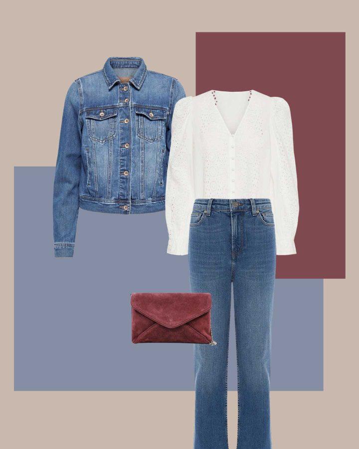 look blusa manga abullonada y jeans