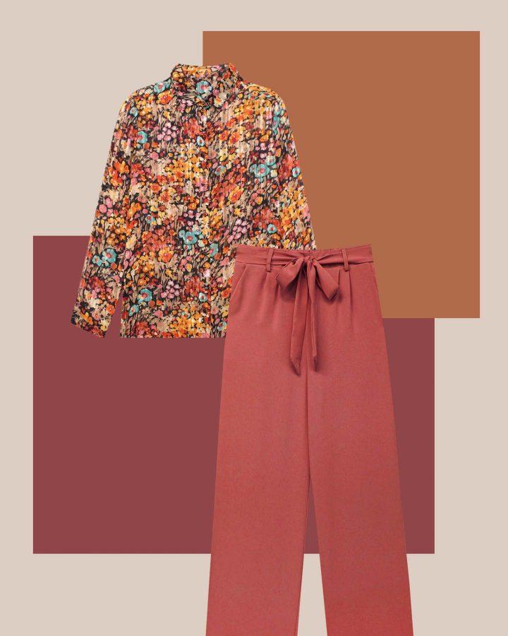 look camisa floral y pantalón fluido