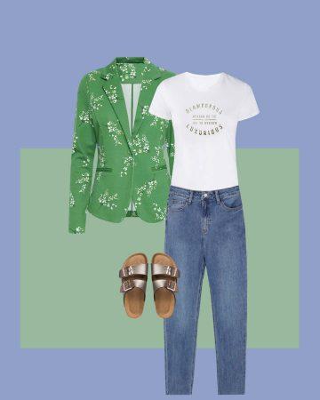 look blazer verde estampada y jeans