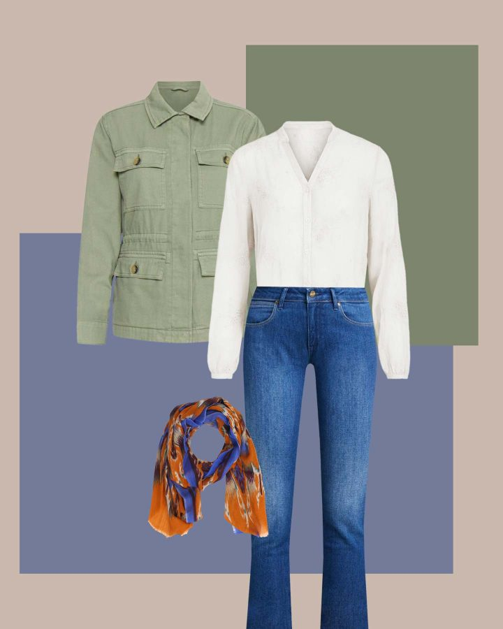 look blusa estilo oversize jeans y sahariana