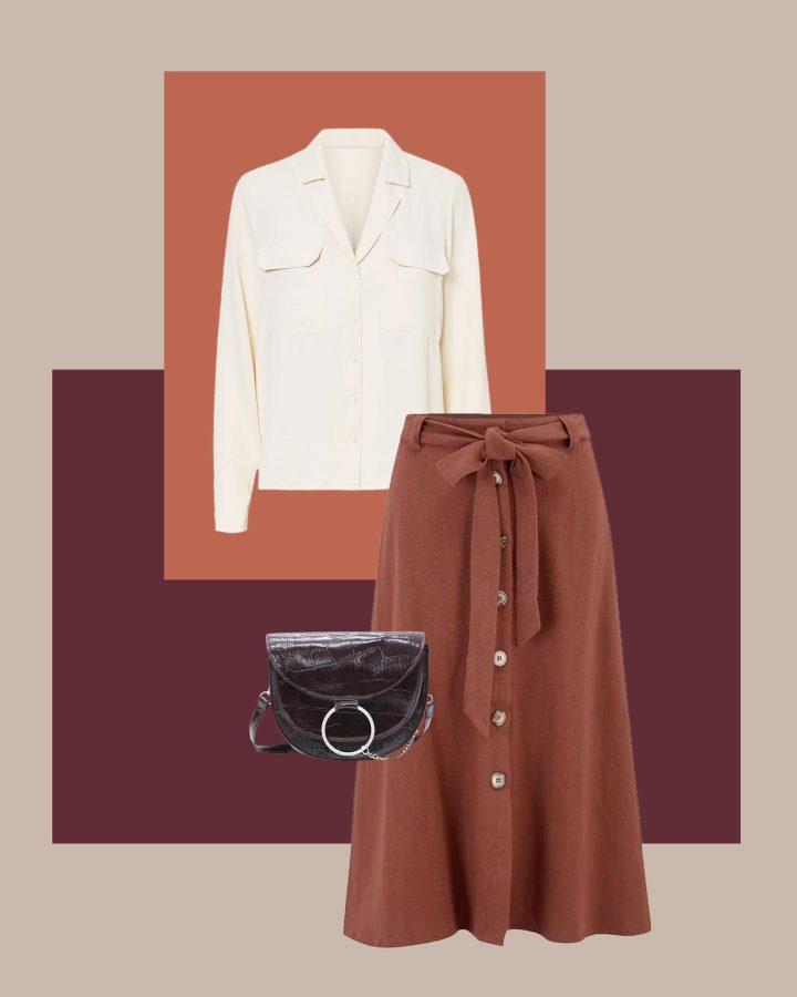look blusa satinada y falda midi primavera