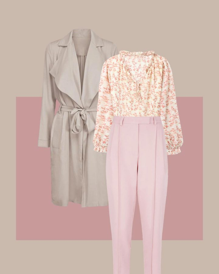 look blusa de flores tonos rosas