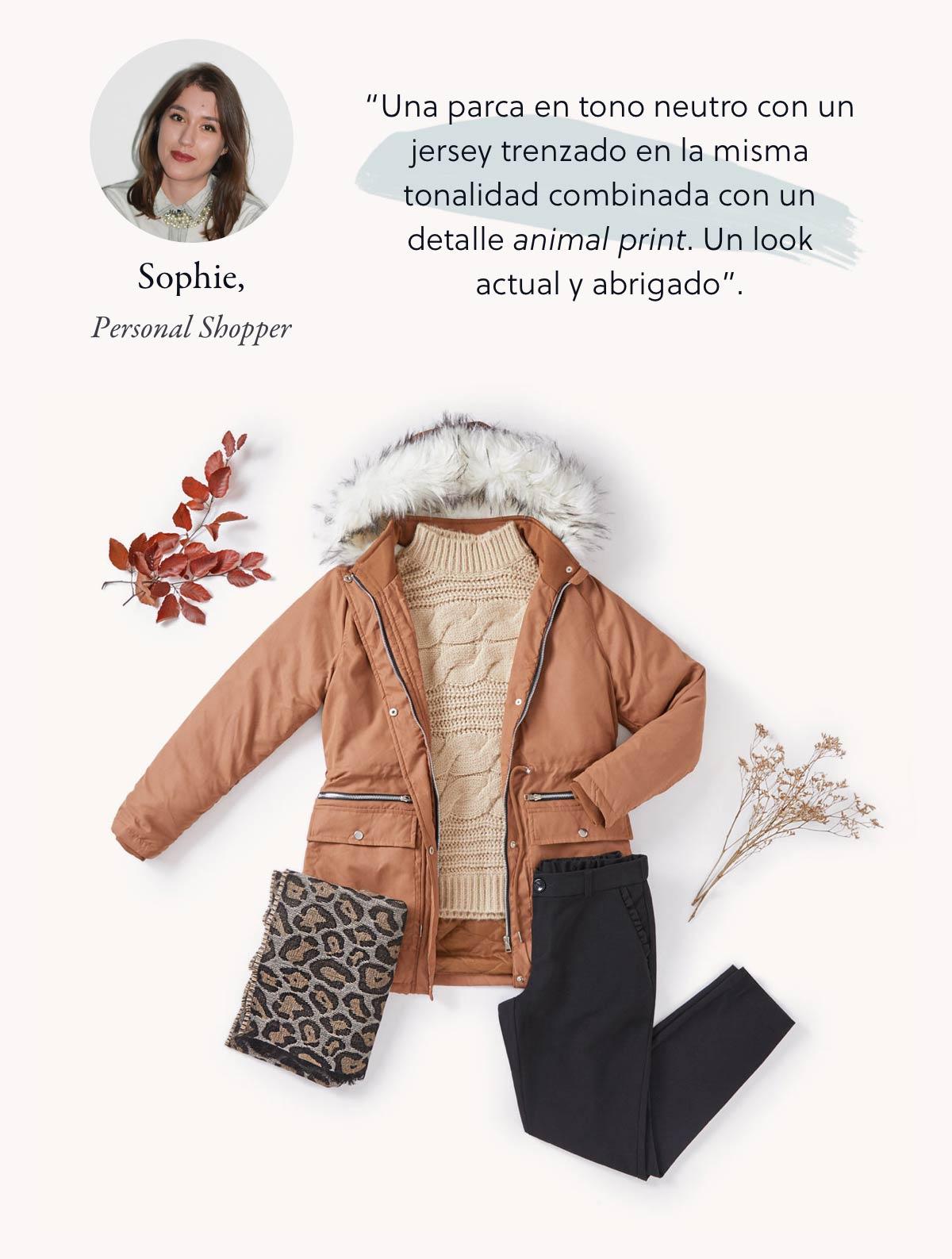 look invierno con parka marron