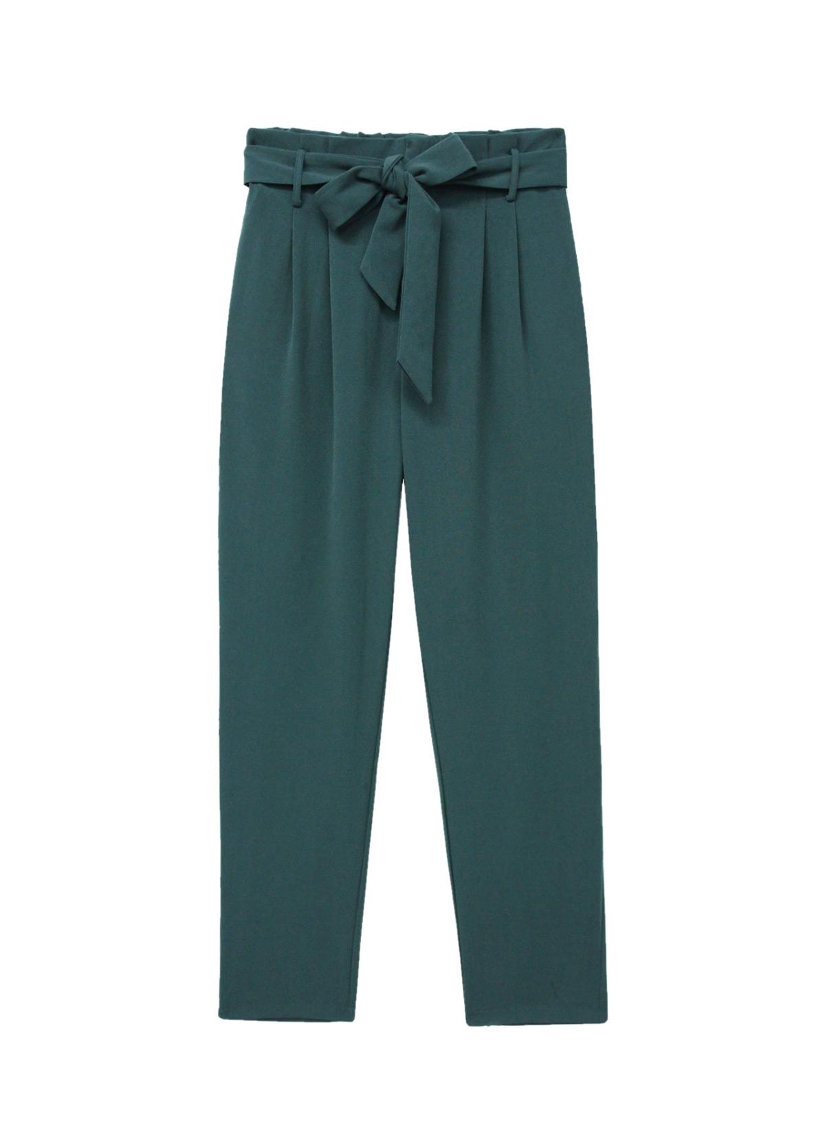 pantalon paperbag verde esmeralda