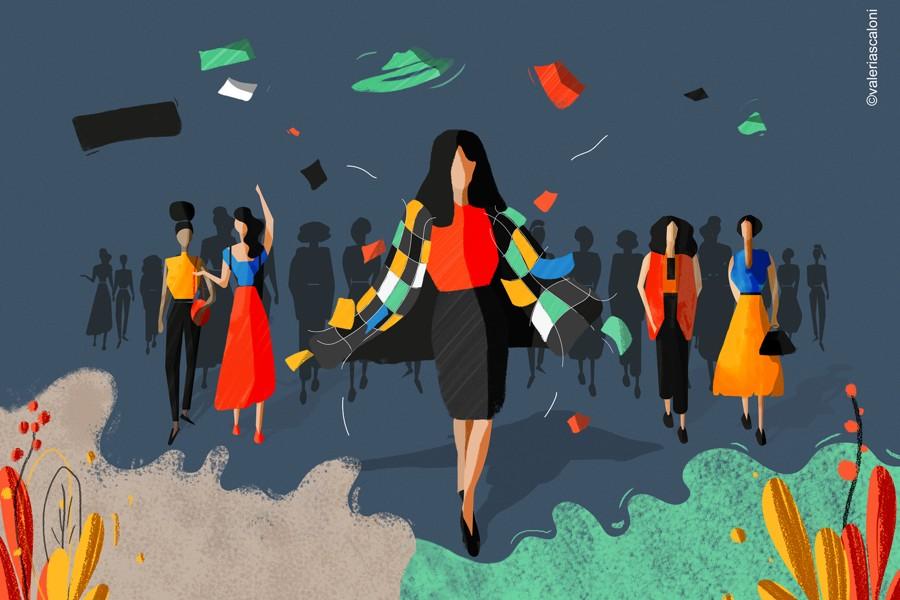 Ilustración de @Valeriascaloni para Lookiero en el día de la mujer