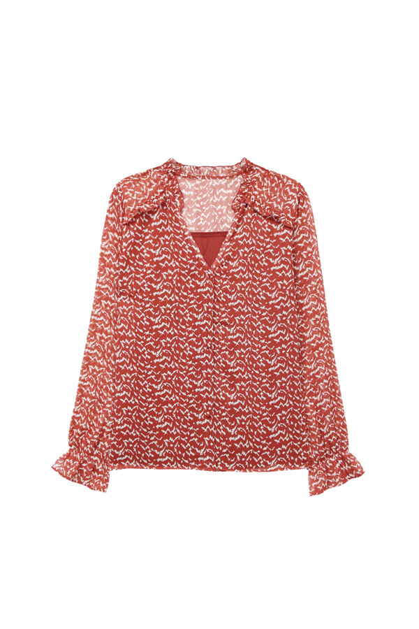 red gauze blouse