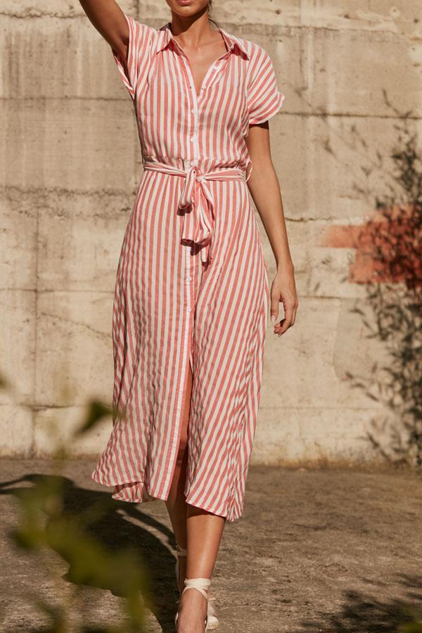 vestido camisero de rayas