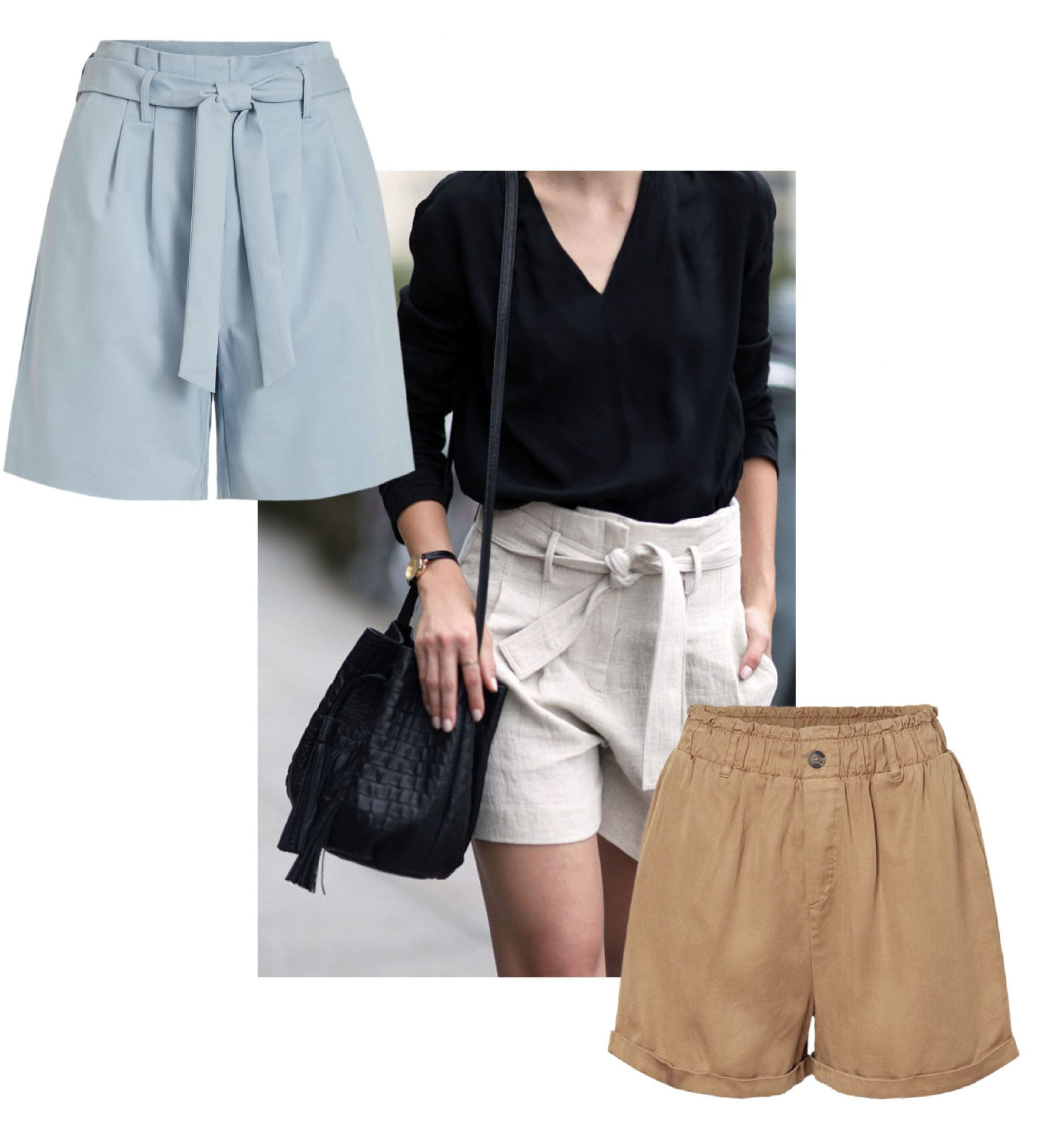 paperbag shorts for summer looks