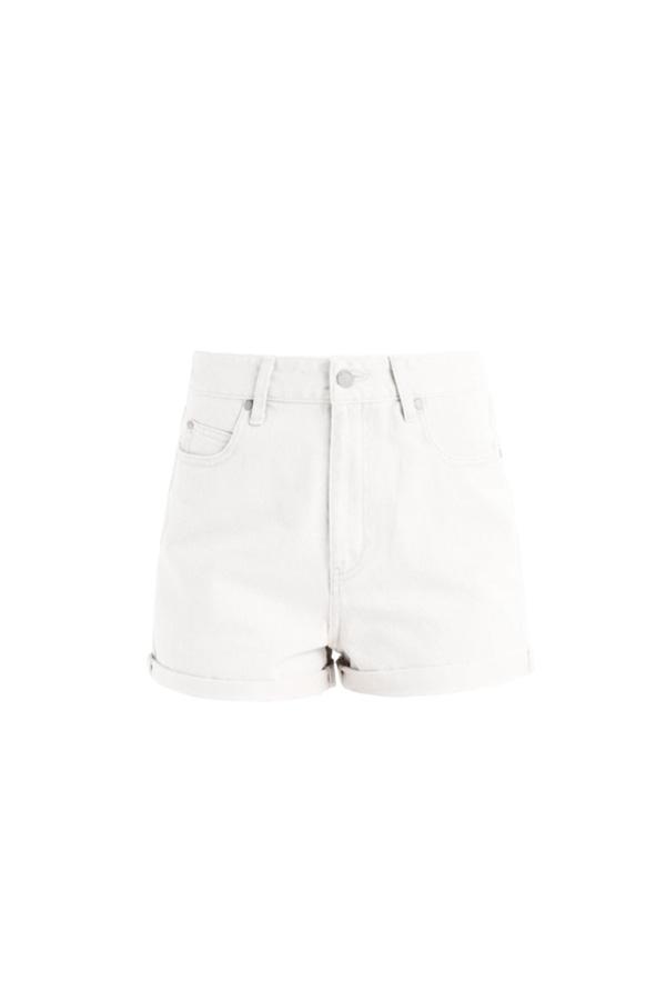 white denim shorts boho style
