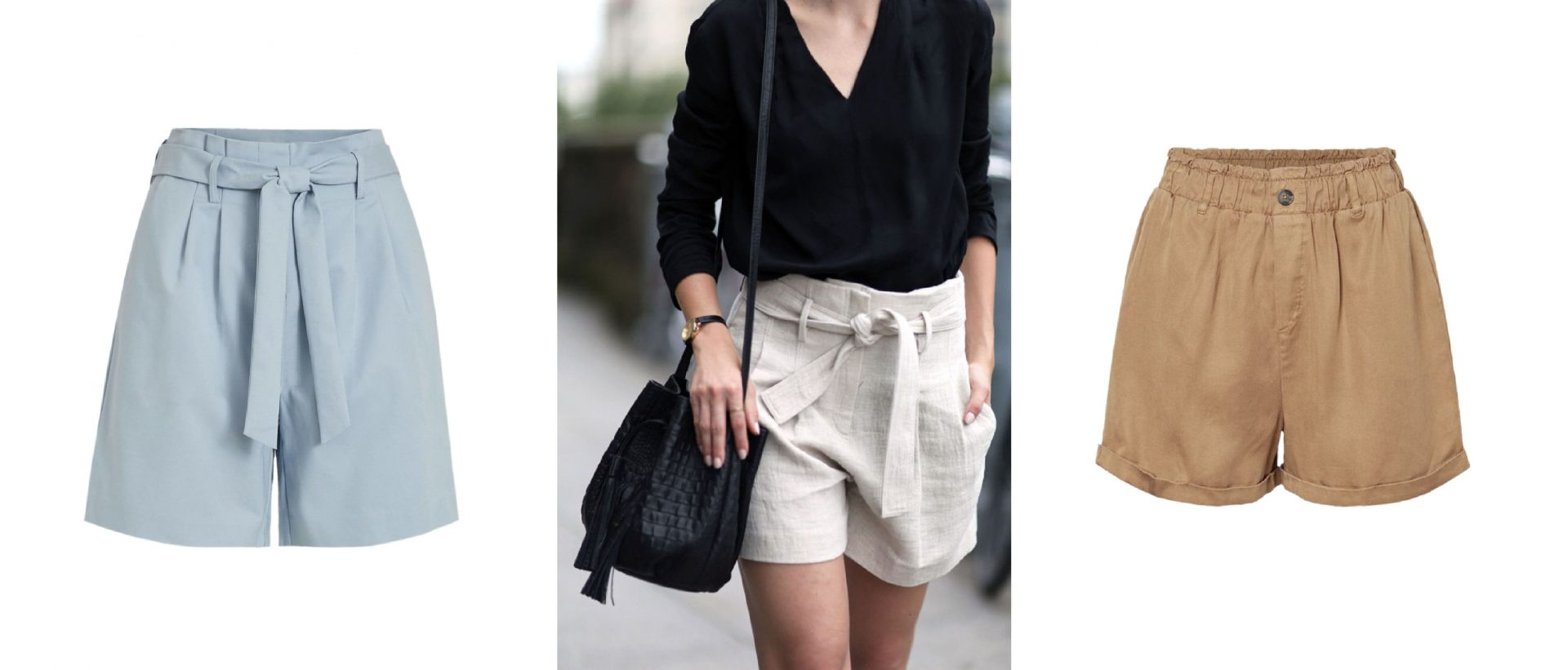 summer looks with paperbag shorts