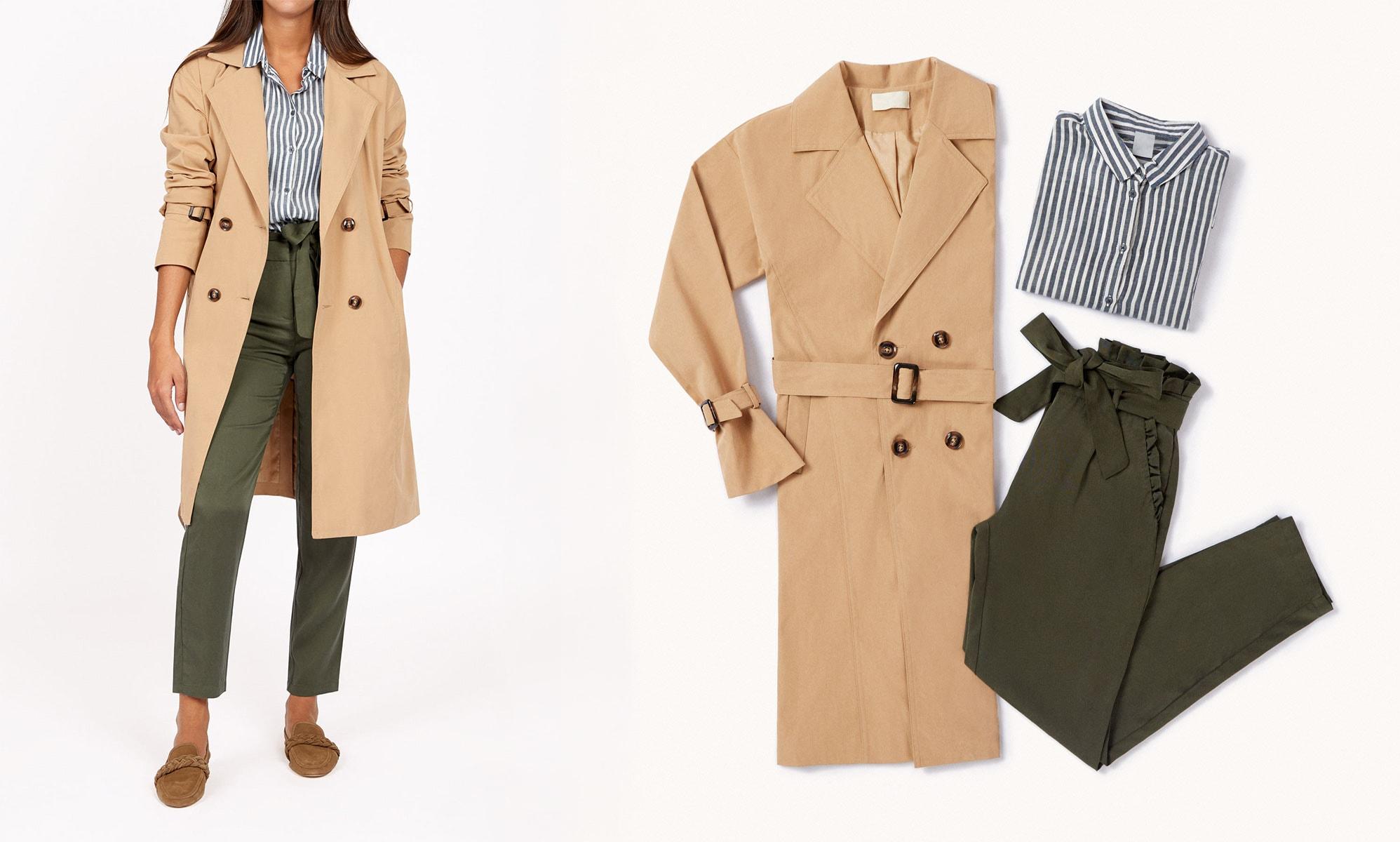 look minimal con trench y pantalón caqui