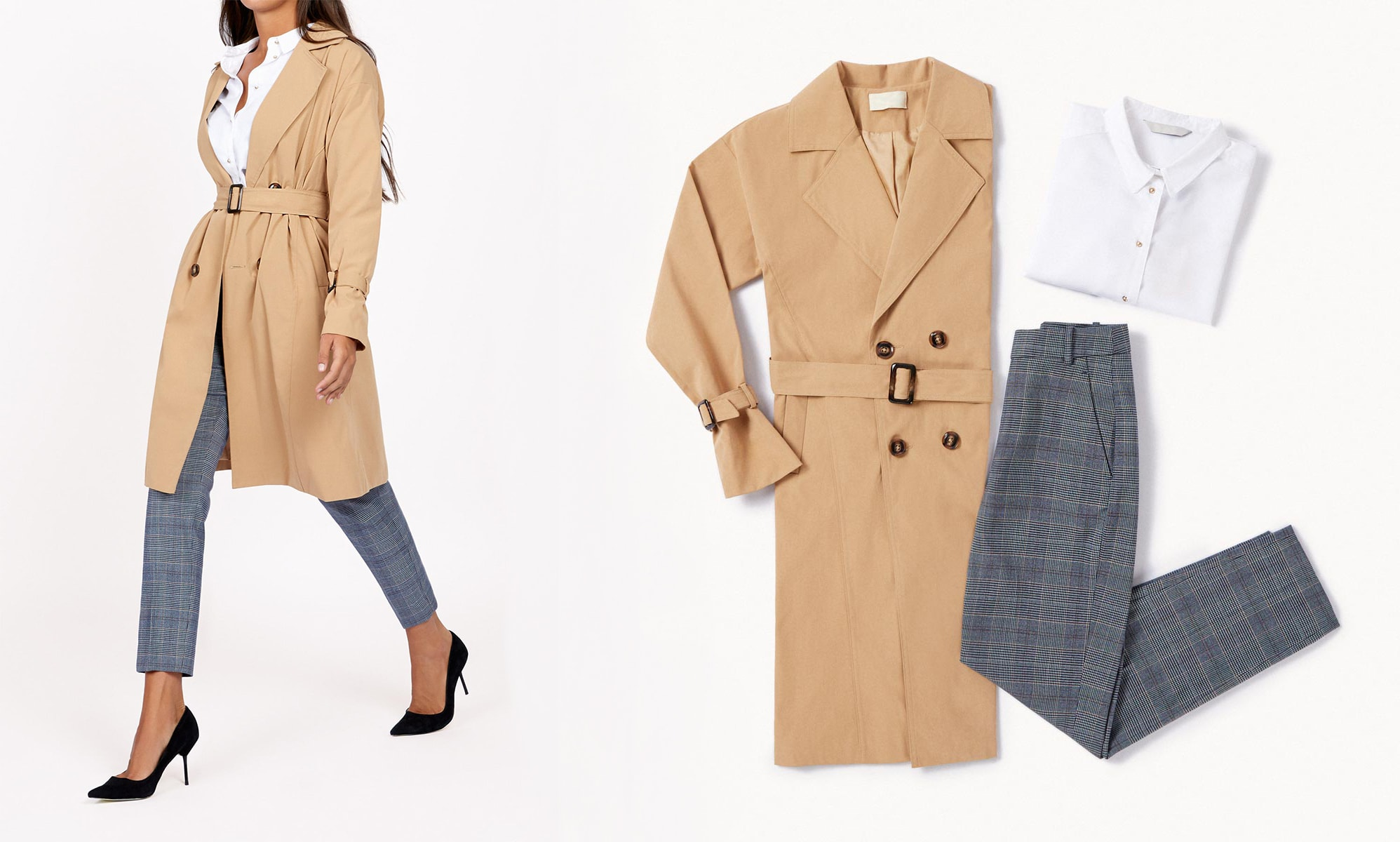 stylish classic trench outfit
